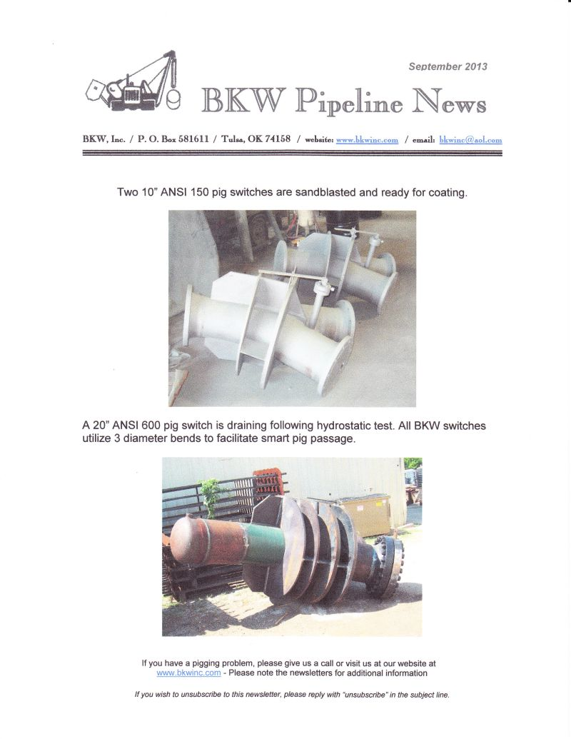 Pipeline Design, Manufacturing and Installation-BKW, Inc.