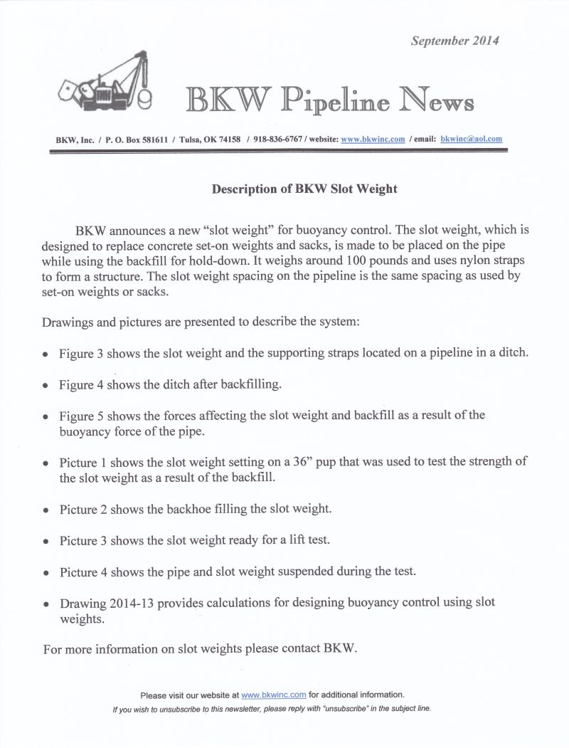 September, 2014 BKW Newsletter, new buoyancy control