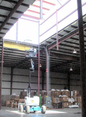 Roof Raising System For Expanded Work Area Of Industrial