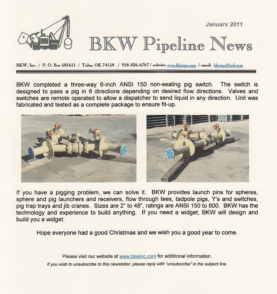 Pipeline Design Manufacturing And Installation Bkw Inc 3 Way Switch History Pig